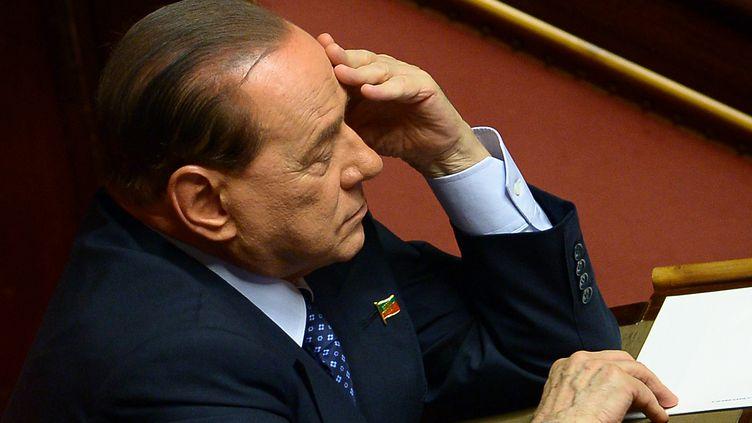 L'ancien chef du gouvernement italien Silvio Berlusconi, le 2 octobre 2013 à Rome (Italie). (FILIPPO MONTEFORTE / AFP)