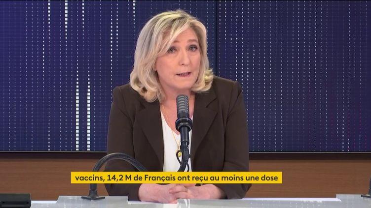 Marine Le Pen était l'invitée de franceinfo mardi 27 avril. (FRANCEINFO / RADIOFRANCE)