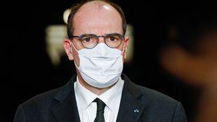 Le Premier ministre, Jean Castex, lors d'une visite à l'hôpital de La Pitié-Salpêtrière, le 12 mars 2021 à Paris. (GEOFFROY VAN DER HASSELT / AFP)