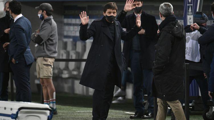Le directeur sportif du PSG, Leonardo, lors d'un match des Parisiens à Bordeaux en mars 2021. (PHILIPPE LOPEZ / AFP)