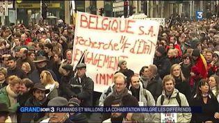 En 2011, des manifestants défilent pour l'unité de la Belgique. (FRANCE 3)