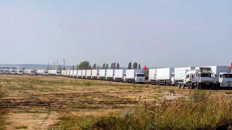 Le convoi humanitaire russe, le 13 août 2014 à Voronezh (Russie). (VLADIMIR BARYSHEV / AFP)