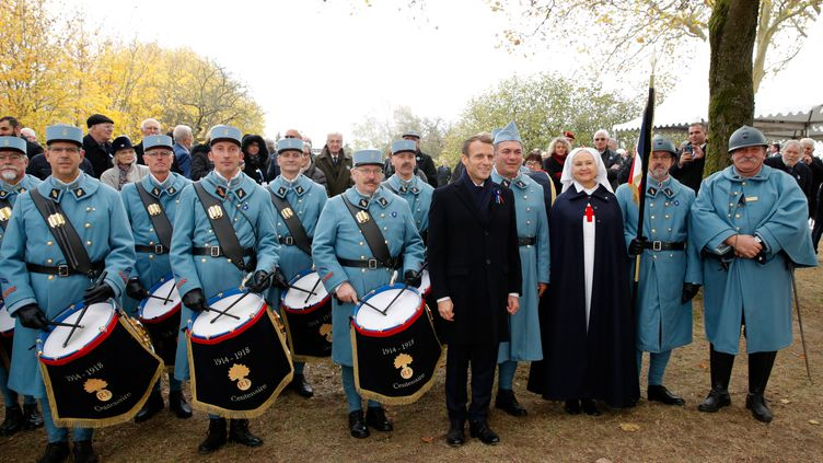 Emmanuel Macron lors d'un hommage aux poilus à Morhange (Moselle), le 5 novembre 2018. (PHILIPPE WOJAZER / AFP)