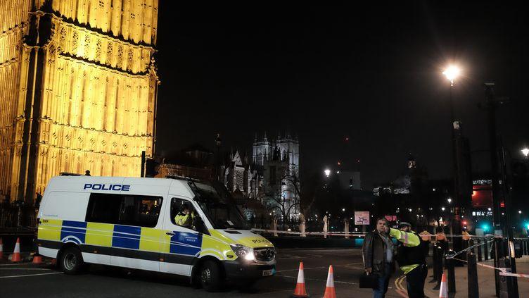 La police devant le Parlement de Westminster à Londres, le 23 mars 2017. (JAY SHAW BAKER / NURPHOTO / AFP)