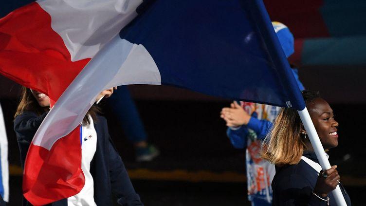 Clarisse Agbegnenou, porte-drapeau de l'équipe de France aux Jeux Européens, le 21 juin 2019 (PHILIPPE MILLEREAU / KMSP)