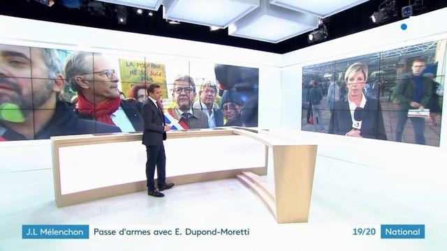 """Procès des """"insoumis"""" : passe d'armes entre Mélenchon et Dupont-Moretti"""