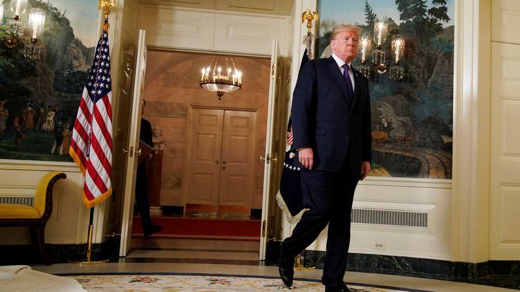 Donald Trump intervient à la Maison Blanche, le 13 avril 2018. (YURI GRIPAS / REUTERS)