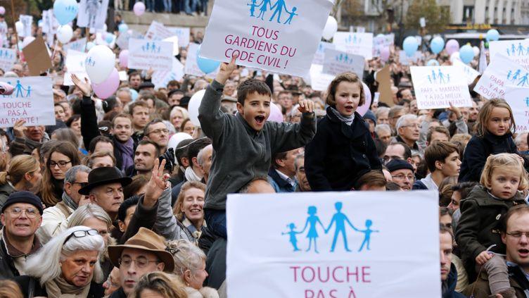 Des enfants défilent lors d'une manifestation contre le projet de loi ouvrant le mariage aux homosexuels, le 17 novembre 2012 à Paris. (PIERRE VERDY / AFP)