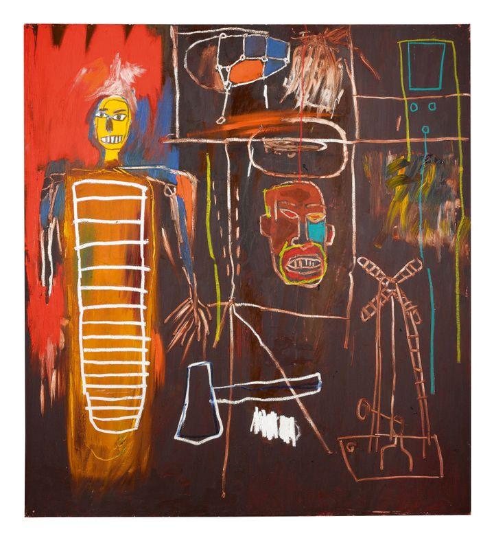 """""""Air Power"""" de Jean-Michel Basquiat (1984). Acrylique et oilstick sur toile.  (Sotheby's)"""