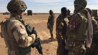 Des militaires de l'opération Barkhane et des militaires maliens, dans le centre du Mali, le 2 novembre 2017. (DAPHNE BENOIT / AFP)