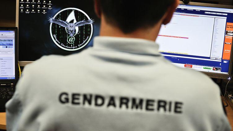 Un gendarme de la brigade de répression de la cybercriminalité travaille, le 21 février 2011 dans les locaux de la gendarmerie de Dijon (Côte-d'Or). (JEFF PACHOUD / AFP)