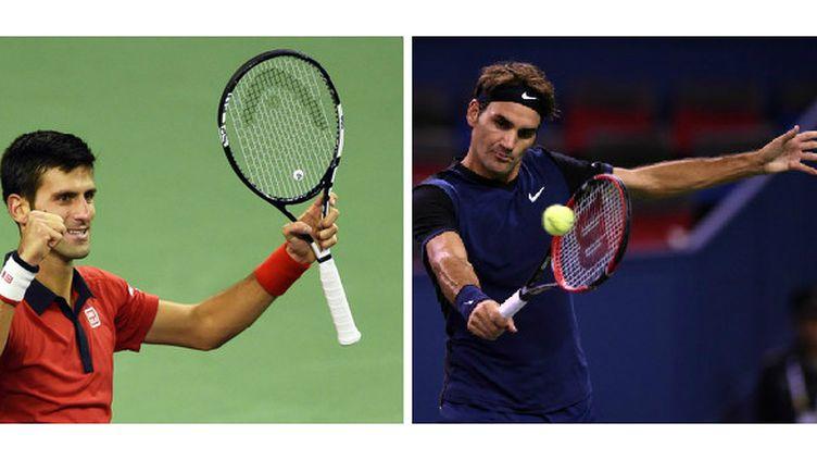 Le numéro un mondial, Novak Djokovic, et le numéro trois au classement ATP, Roger Federer.