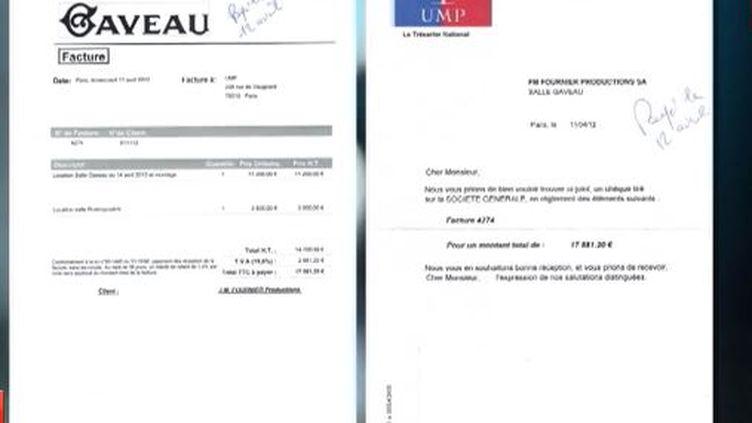 Capture d'écran des deux factures de 11 200 euros et de3 500 euros payées à la salle Gaveau par l'UMP,en avril 2012 ( FRANCE 2 / FRANCETV INFO)