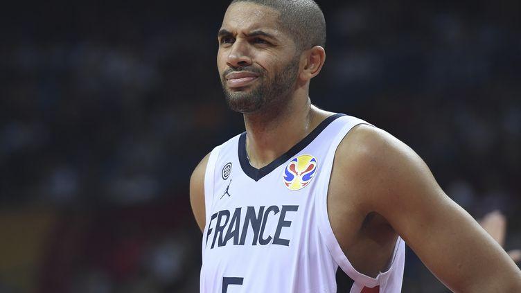 Le basketteur français Nicolas Batum, le 7 septembre 2019 lors d'un match du Mondial contre la Lituanie. (WANG ZHAO / AFP)
