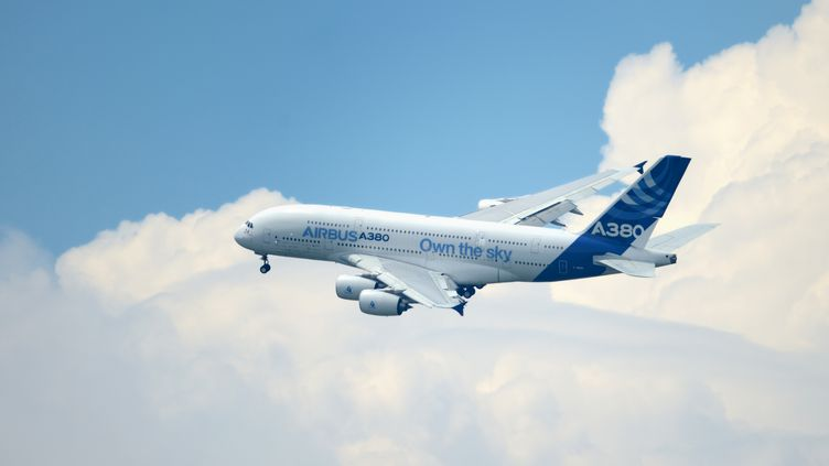 L'Airbus A380 survole le Salon du Bourget, le 20 juin 2013. (ERIC FEFERBERG / AFP)