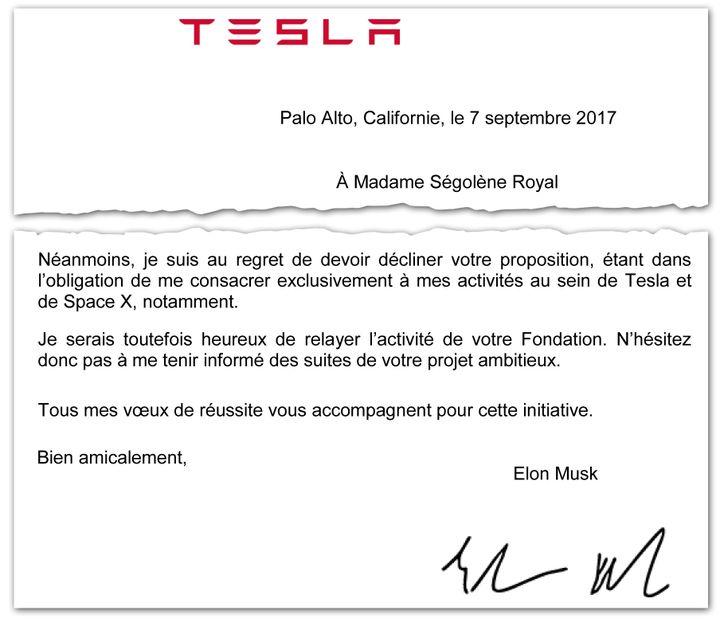 Extrait de la lettre envoyée par Elon Musk à Ségolène Royal, en septembre 2017. (RADIO FRANCE)
