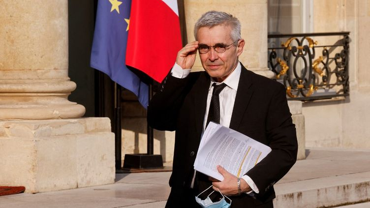 Yves Veyrier, le 29 avril 2021, au palais de l'Élysée. (LUDOVIC MARIN / AFP)