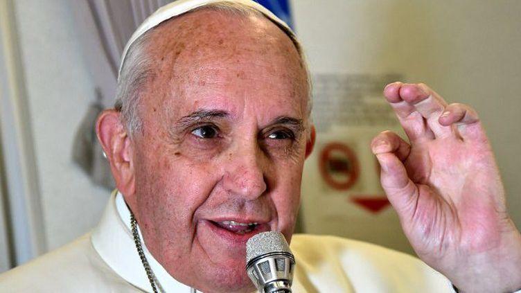 Le pape François dans l'avion qui le ramène à Rome, le 19 Janvier 2015, après une visite triomphale aux Philippines et au Sri Lanka.