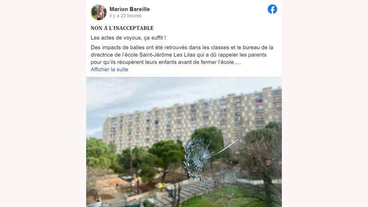 Capture d'écran d'un message posté parla maire des 13e et 14e arrondissements de Marseille Marion Bareille sur facebook, lundi 1er février. (CAPTURE D'ÉCRAN FACEBOOK)