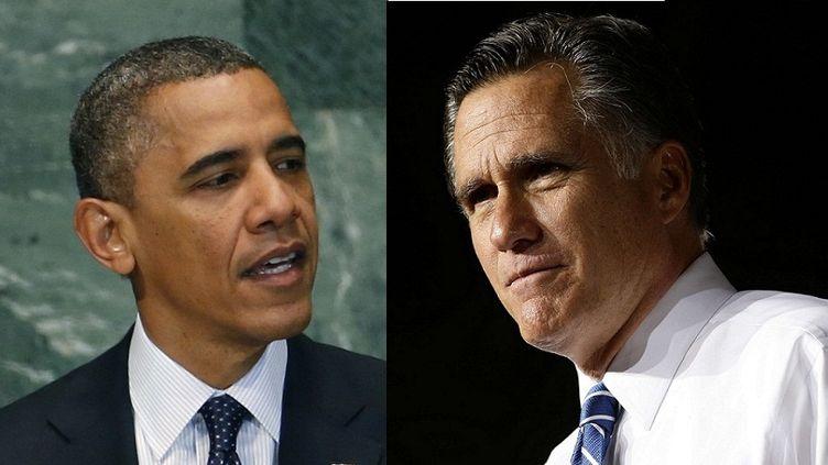 Le président-candidat démocrate Barack Obama et le candidat républicain Mitt Romney participent au premier débat télé de la présidentielle américaine, le 3 octobre 2012. (REUTERS / SIPA)