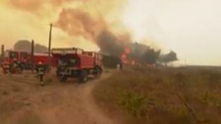 Bouches-du-Rhône : les pompiers tentent de maîtriser un violent incendie à Istres. (France 3)
