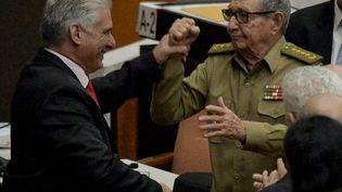 Raul Castro et Miguel Diaz Canelà la Havane (Cuba), le 21 décembre 2019. (YAMIL LAGE / AFP)