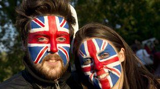 Le chanteur des Take That a lancé la soiréedevant des dizaines de milliers de spectateurs qui portaient les couleurs de l'Union Jack. (MIGUEL MEDINA / AFP)