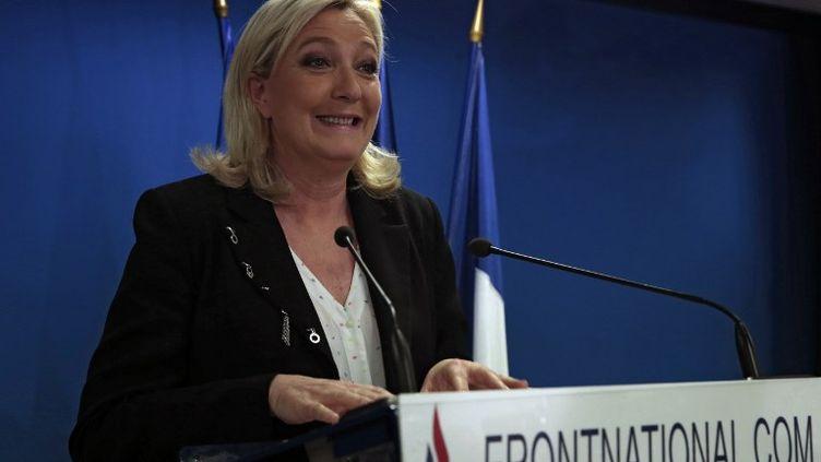 Marine Le Pen, le soir du premier tour des élections départementales, à Nanterre (Hauts-de-Seine), le 22 mars 2015. (JOEL SAGET / AFP)