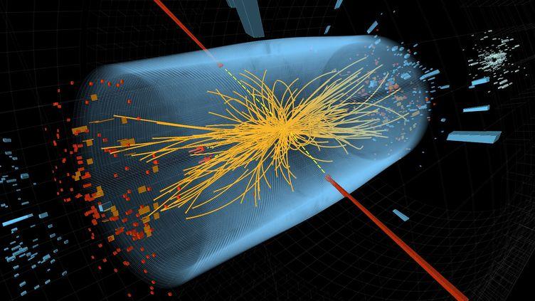 Représentation d'une collision de protons réalisée dans l'accélérateur de particules du Cern. ((FABRICE COFFRINI/ AFP))