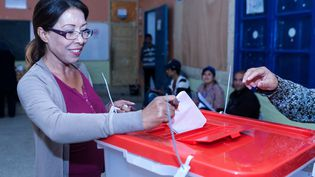 Une Tunisienne vote le 26 octobre 2014 à Tunis, en Tunisie. (AMINE LANDOULSI / ANADOLU AGENCY / AFP)