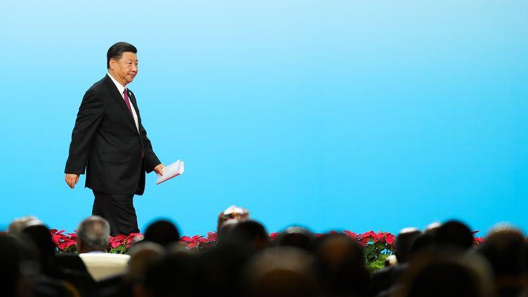 Le président chinois, Xi Jinping, lors d'un forum à Pékinle 3 septembre 2018. (LINTAO ZHANG / POOL)