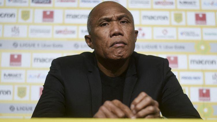Antoine Kombouaré, le nouvel entraîneur du FC Nantes, jeudi 11 février 2021. (SEBASTIEN SALOM-GOMIS / AFP)