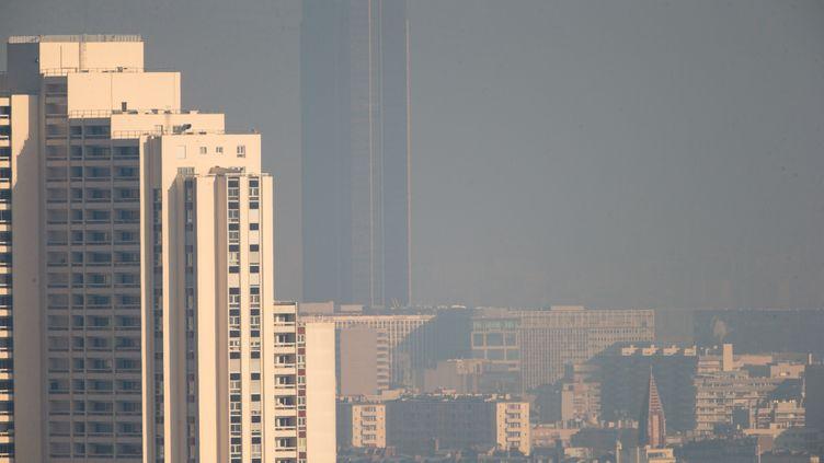 La tour Montparnasse, à Paris, sous un voile de pollution, le 29 décembre 2016. (MICHEL STOUPAK / CITIZENSIDE)