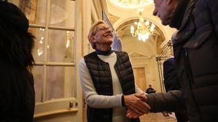 Isabelle Balkany à l'hôtel de ville de Levallois-Perret pour la galette des rois, le 11 janvier 2020. (ARNAUD JOURNOIS / MAXPPP)