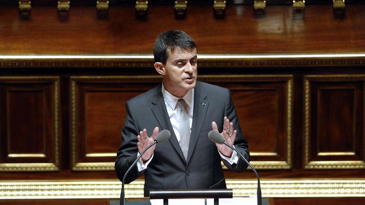 """Manuel Valls, ici au Sénat à Paris le 28 octobre 2014, a appelé à """"la retenue"""" et """"au sang froid"""" face à la mort de Rémi Fraisse. (FRANCOIS GUILLOT / AFP)"""