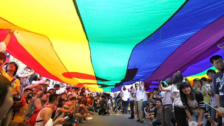 Des dizaines de milliers de personnes ont marché dans Taipei (Taiwan ) samedi 27 octobre 2012 pour demander la légalisation du mariage homosexuel, lors d'une 10e Gay Pride. (MAXPPP)