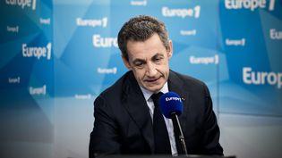 Le président des Républicains Nicolas Sarkozy à Europe 1, jeudi 9 juin 2016. (PHILIPPE LOPEZ / AFP)