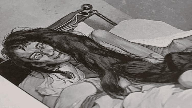 Blanche Monnier lors de sa découverte par la police en 1901 / dessin de presse  (France3/culturebox)
