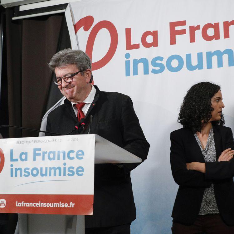 Jean-Luc Mélenchon et Manon Aubry lors d'un discours adresséaux militants de La France insoumise, le 26 mai 2019 à Paris, au soir des élections européennes. (GEOFFROY VAN DER HASSELT / AFP)