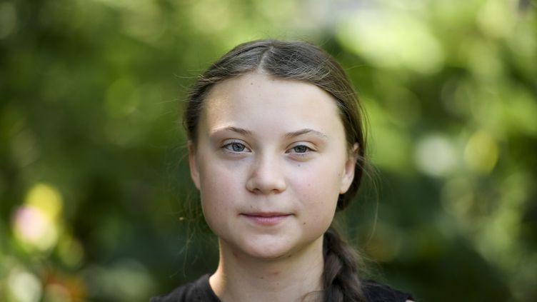 Greta Thunberg, 16 ans, dans les jardins de l'Assemblée nationale, le 23 juillet 2019. (LIONEL BONAVENTURE / AFP)