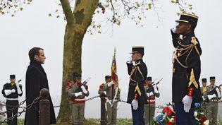 Le président de la République Emmanuel Macron a présidé le 5 novembre 2018 une cérémonie d'hommage aux soldats français tués en août 1914àMorhange (Moselle). (AFP)