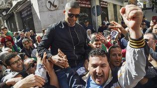 Khaled Drareni, le 6 mars 2020, à Alger. (RYAD KRAMDI / AFP)