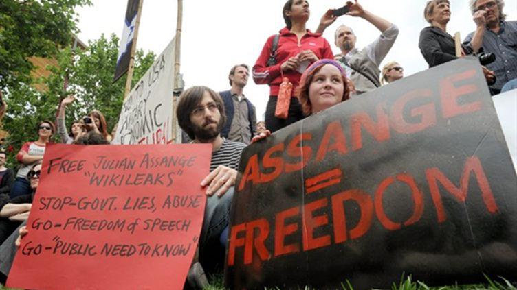 Manifestation à Melbourne (Asutralie) pour obtenir la libération de Julian Assange (AFP/ William West)