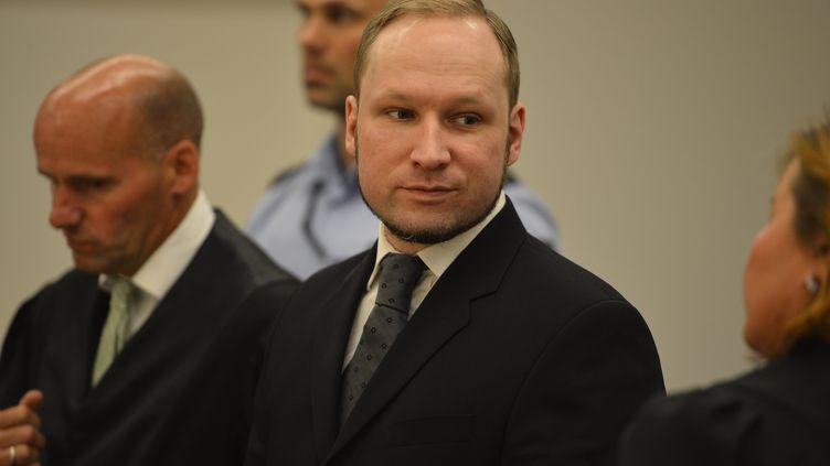Le tueur norvégien Anders Behring Breivik lors de son procès, à Oslo (Norvège), le 24 août 2012. (ODD ANDERSEN / AFP)