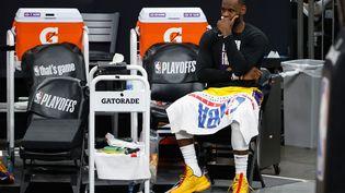 LeBron James (Los Angeles Lakers) durant le match 5 du 1er tour des play-offs NBA 2021 contre les Phoenix Suns, le 1er juin 2021 (CHRISTIAN PETERSEN / GETTY IMAGES NORTH AMERICA)