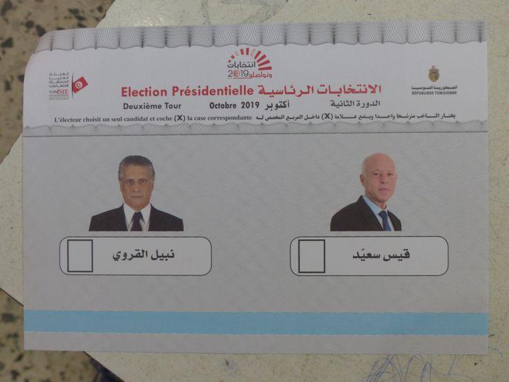 Bulletin de vote pour le 2nd tour de l'élection présidentielle en Tunisie, le 13 octobre 2019. (FTV - Laurent Ribadeau Dumas)