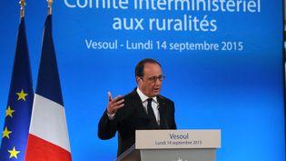 François Hollande a présenté une vingtaine de mesures destinées aux zones rurales, à Vesoul (Haute-Saône), lundi 14 septembre 2015.  (MAXPPP)