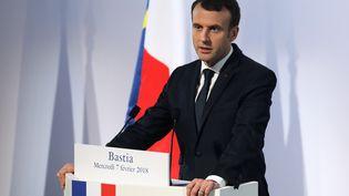 Emmanuel Macron prononce son discours au centre culturel de Bastia (Corse), le 7 février 2018. (LUDOVIC MARIN / AFP)