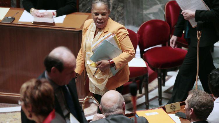 Christiane Taubira le 30 janvier 2012 lors de son arrivée à l'Assemblée nationale à Paris. (JACQUES DEMARTHON / AFP)