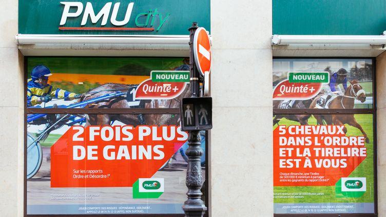 La devanture d'un PMU City, à Paris, le 13 février 2019. (MATHIEU MENARD / HANS LUCAS / AFP)